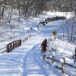 Snow covered trail at Cedar Creek Park